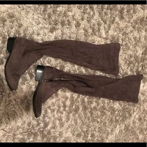 Taupe above the knee boots